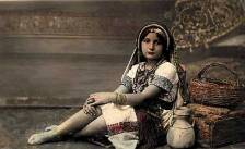 Early 20th century photograph of young Palestinian girl wearing indigenous dress