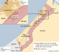 The Israeli military, relentlessly and methodically, is driving people out of the 3-kilometer (1.8 mile) buffer zone it says it needs to protect against Hamas rockets and tunnels. According to the United Nations Office for the Coordination of Humanitarian Affairs, the buffer zone eats up about 44 percent of Gaza's territory. Read more at http://www.liveleak.com/view?i=544_1406734466#B2WIu8q0Shs7PzPd.99