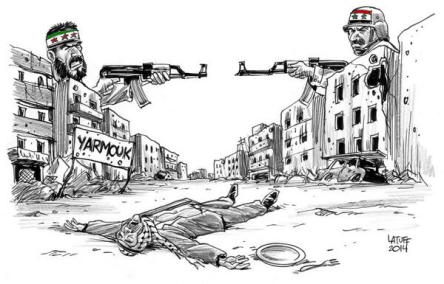 Cartoon depicting the situation felt in Al Yarmouk