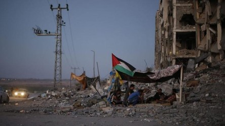 Palestinians in a tent outside apartments in the town of Beit Lahiya in the Northern Gaza Strip -Reuters http://www.smh.com.au/comment/the-harsh-realities-behind-the-death-of-innocents-in-gaza-20140812-1039hg.html