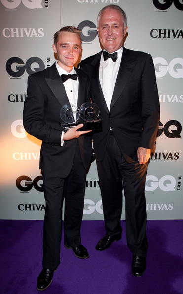 caught at the 2010 Men of the year awards GQ Magazine Liberal Politicians Malcolm Turnbull and Wyatt Roy