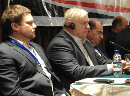 Russian and US delegations chiefs with Barakat of Syria reading findings-750