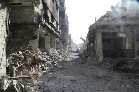 photo of street in Al Yarmouk taken 2014 apologies site and photographer unknown but street identified by reliable source.